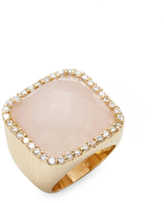 Rivka Friedman CZ Bezel Bold Cushion & Faceted Chalcedony Statement Ring