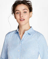 Brooks Brothers Petite Non-Iron Tailored-Fit Gingham Stretch-Cotton Fun Shirt