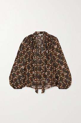Ulla Johnson Luna Tie-detailed Printed Fil Coupe Silk-blend Blouse