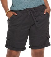 UNIONBAY Juniors' Plus Size Stretch Lightweight Twill Drawstring Bermuda Shorts