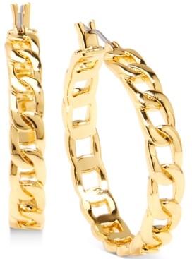 """Zenzii Gold-Tone Medium Curb Chain Hoop Earrings, 1.3"""""""