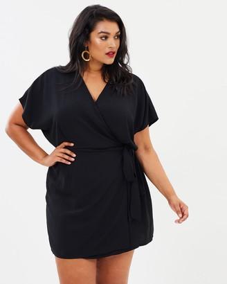 Missguided Curve Plus Kimono Sleeve Wrap Dress