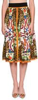Dolce & Gabbana Maiolica & Leopard Print A-Line Cotton Poplin Skirt