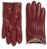 Portolano Intrecciato-Weave Leather Gloves