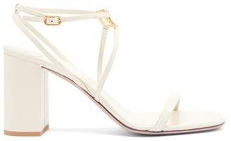 Valentino V-logo Block-heel Leather Sandals - Cream