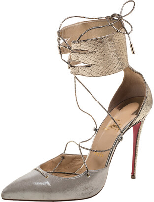 Christian Louboutin Metallic Gold Python Embossed Leather And Glitter Nubuck Corsankle Sandals Size 41