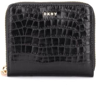 DKNY Bryant Wallet Made Of Shiny Black Crocodile Print Leather