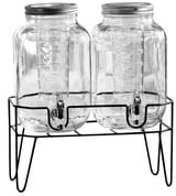 American Atelier Stylesetter Clifford Double Fruit Infuser Beverage Cold Drink Dispenser with Stand - Set of 2