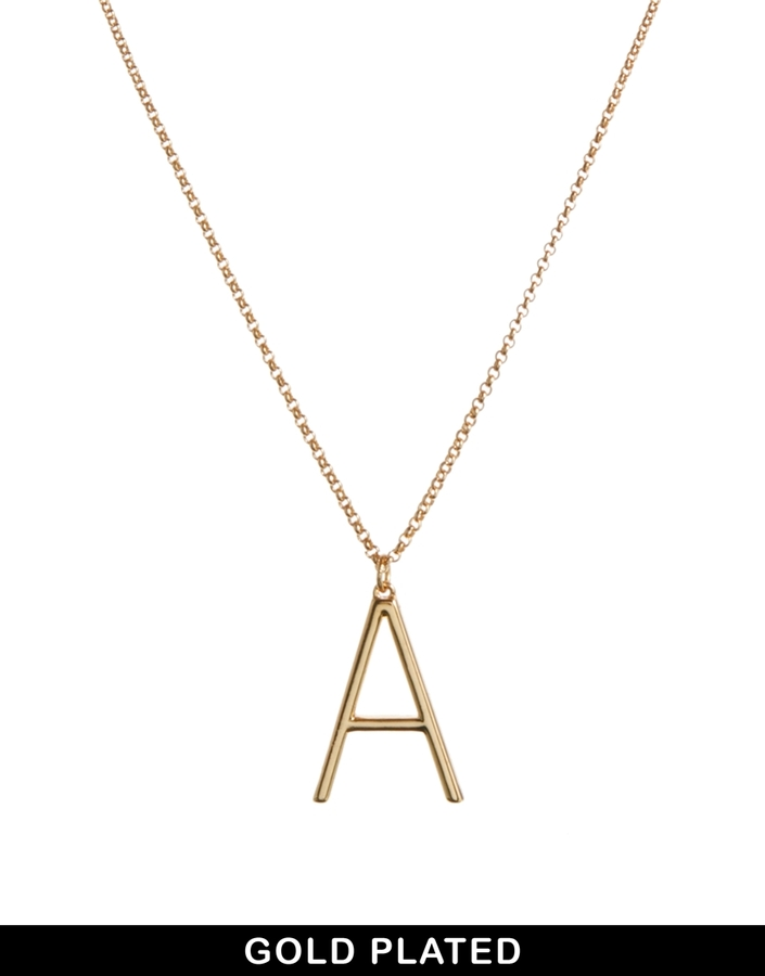 Asos Gold Plated A Necklace - Gold