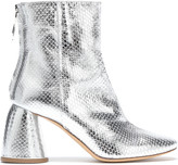 Ellery Metallic Snake-effect Leather Ankle Boots