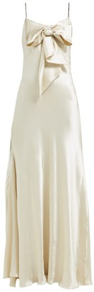Maria Lucia Hohan Ziya Bow-embellished Silk-satin Dress - Ivory