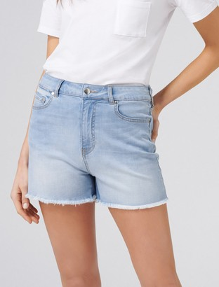 Forever New Heather High Rise Cut-Off Denim Shorts - Beach Blue - 14