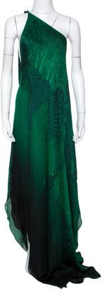 Roberto Cavalli Green Wings Texture Print Silk Draped Maxi Kaftan M