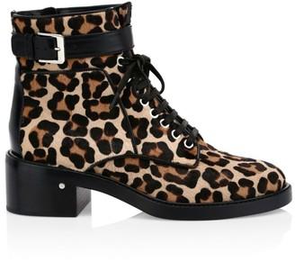 Laurence Dacade Solene Leopard-Print Calf Hair Combat Boots