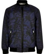 River Island Boys navy camo bomber jacket