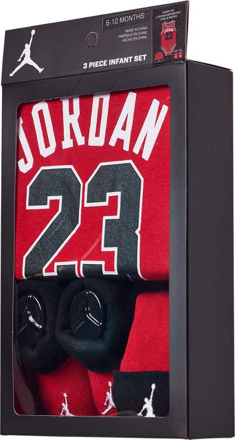 info for b0854 c9367 Boys' Infant Air Jordan Jumpman Jersey 3-Piece Boxed Set (6-12 Months)