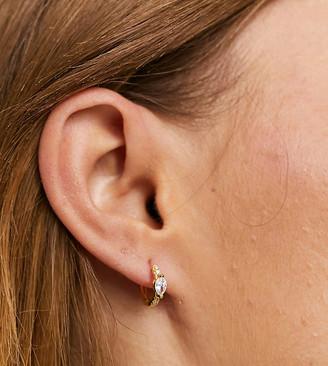 Shashi encrusted huggy hoop earrings in gold vermeil plated sterling silver