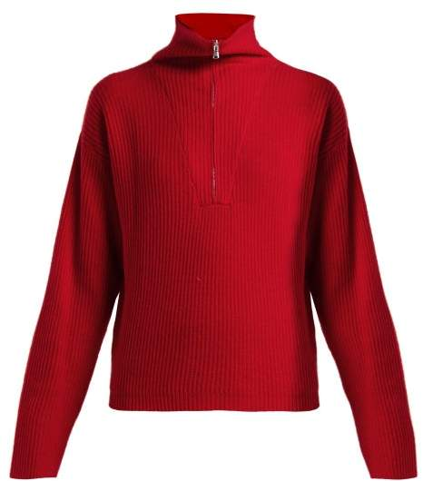 Allude Half Zip Ribbed Cashmere Sweater - Womens - Red