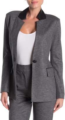 St. John Melange Flannel Wool Blend Jersey Blazer