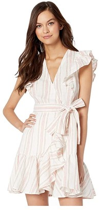Rebecca Taylor Sleeveless Stripe Wrap Dress (Snow) Women's Clothing