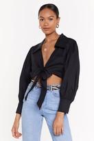 Nasty Gal Womens Tie Front Volume Sleeve Shirt - black - 14, Black