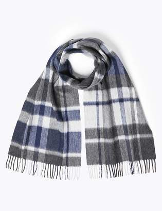 Marks and Spencer Merino Wool Checked Scarf
