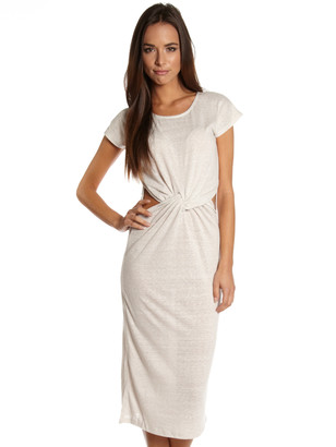 Glamorous Ruched Waist Jersey Midi Dress in Oatmeal