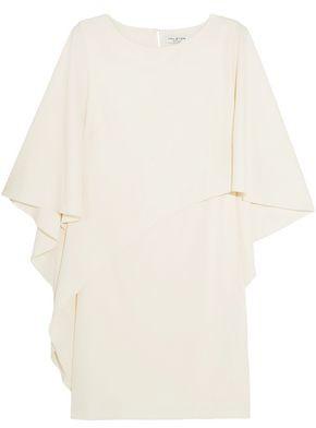 Halston Layered Draped Crepe Mini Dress