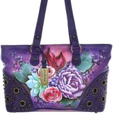 Anuschka Twin Top Studded Genuine Leather Hand Painted Shopper Bag (Lush Lilac)