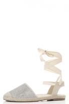Quiz Silver Shimmer Ankle Tie Espadrille Pumps
