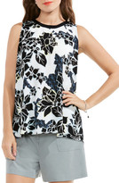 Vince Camuto Floral Exhibit Tie Back Blouse (Regular & Petite)