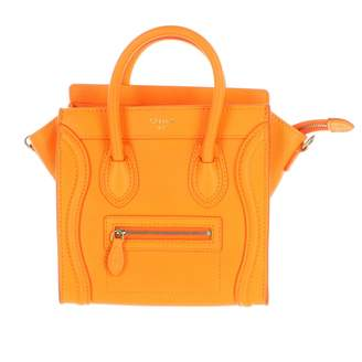 Celine Nano Luggage Orange Leather Handbags