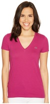 Lacoste Short Sleeve Cotton Jersey V-Neck Tee Shirt Women's Short Sleeve Pullover