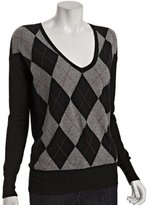 black cashmere argyle boyfriend sweater