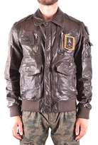 Aeronautica Militare Men's Brown Leather Outerwear Jacket.