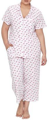 Karen Neuburger Plus Size Ditsy Girlfriend Knit Cropped Pajama Set