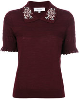 Carven embellished collar knitted top - women - Silk/Merino - XS