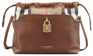 Burberry Drawstring Check Crossbody Bag, Brown