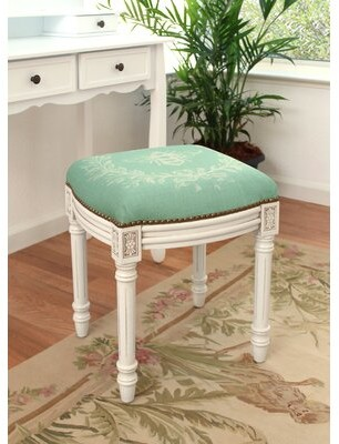 Lark Manor Clematite Napoleon Bee Linen Upholstered Vanity Stool Finish: Antique White, Color: Aqua