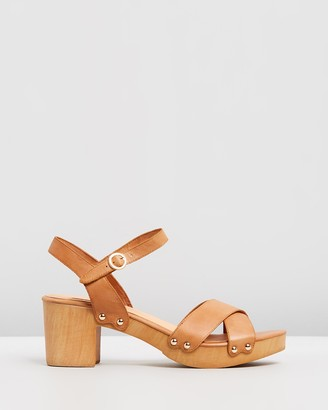 Mollini Women's Brown Heeled Sandals - Byronbay Leather Block Heels - Size 36 at The Iconic