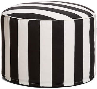 One Kings Lane Cabana Stripe Outdoor Ottoman - Black/White