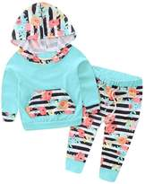 TONSEE 2Pcs Infant Baby Boy Girl Hooded Floral Tops +Pants (24M, )