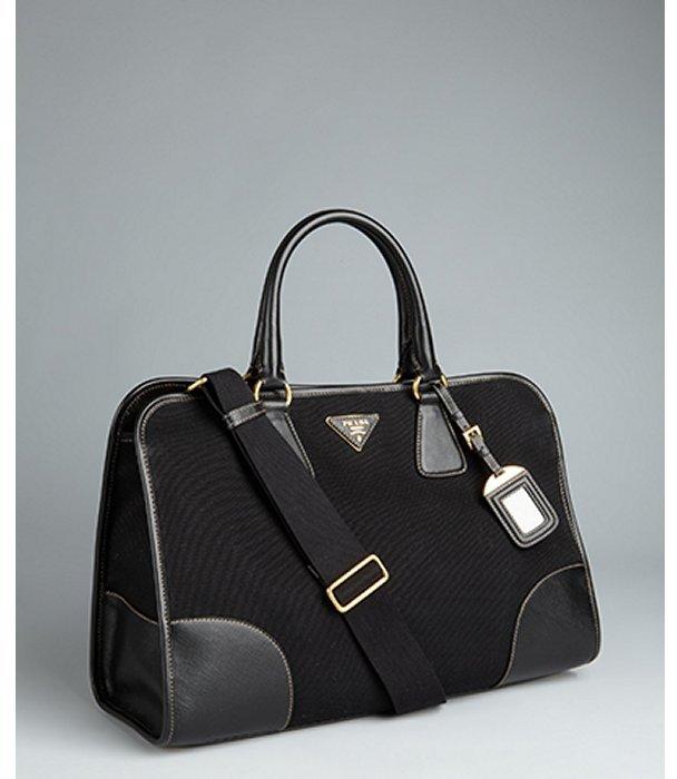Prada black canvas convertible tote bag