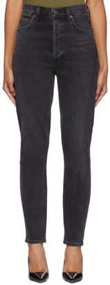 A Gold E Agolde AGOLDE Black Nico High-Rise Slim Jeans