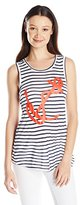 "Miss Chievous Juniors' Stripe Knit Tank Top with ""Anchor with Rope"" Red Screen"
