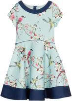 Ted Baker Girls' Blue Bird Print Scuba Prom Dress