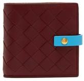 Bottega Veneta Intrecciato Leather Wallet - Womens - Burgundy Multi