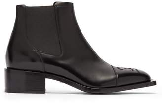 Fendi Ff-embroidered Leather Chelsea Boots - Mens - Black