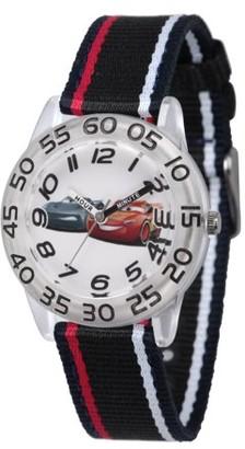 Disney Lightning McQueen and Jackson Storm Boys' Clear Plastic Time Teacher Watch, Black Nylon Strap