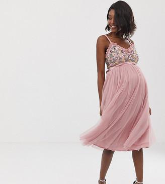 Maya Maternity cami strap contrast embellished top tulle detail midi dress in vintage rose-Pink